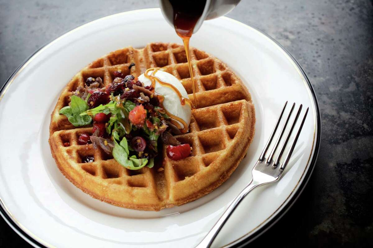 Spiced Waffle with Duck Confit, Orange and Goat Cheese Mousse by chef John Brand of Supper