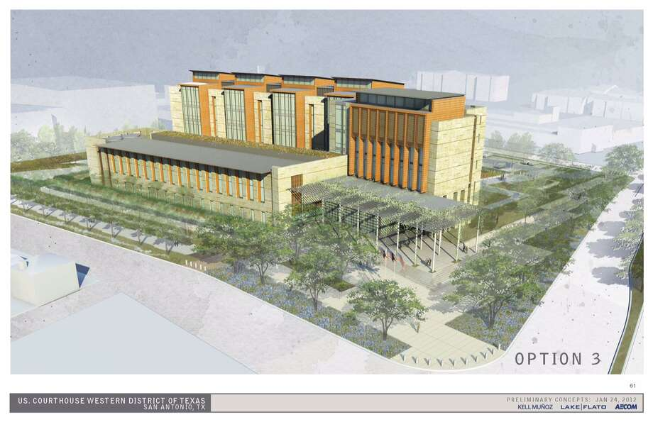 An artist rendering of the proposed new federal courthouse for San Antonio. Photo: Courtesy / John H. Wood Jr. U.S. Courthouse