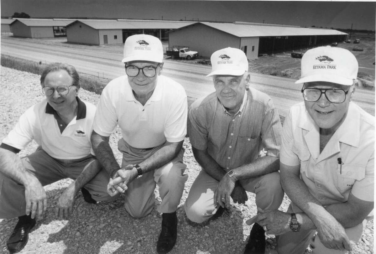 Chick Lang Jr., Robert Quigley, Larry Craft and Joe Strauss, Jr., who helped develop Retama Park, pose for a photo.