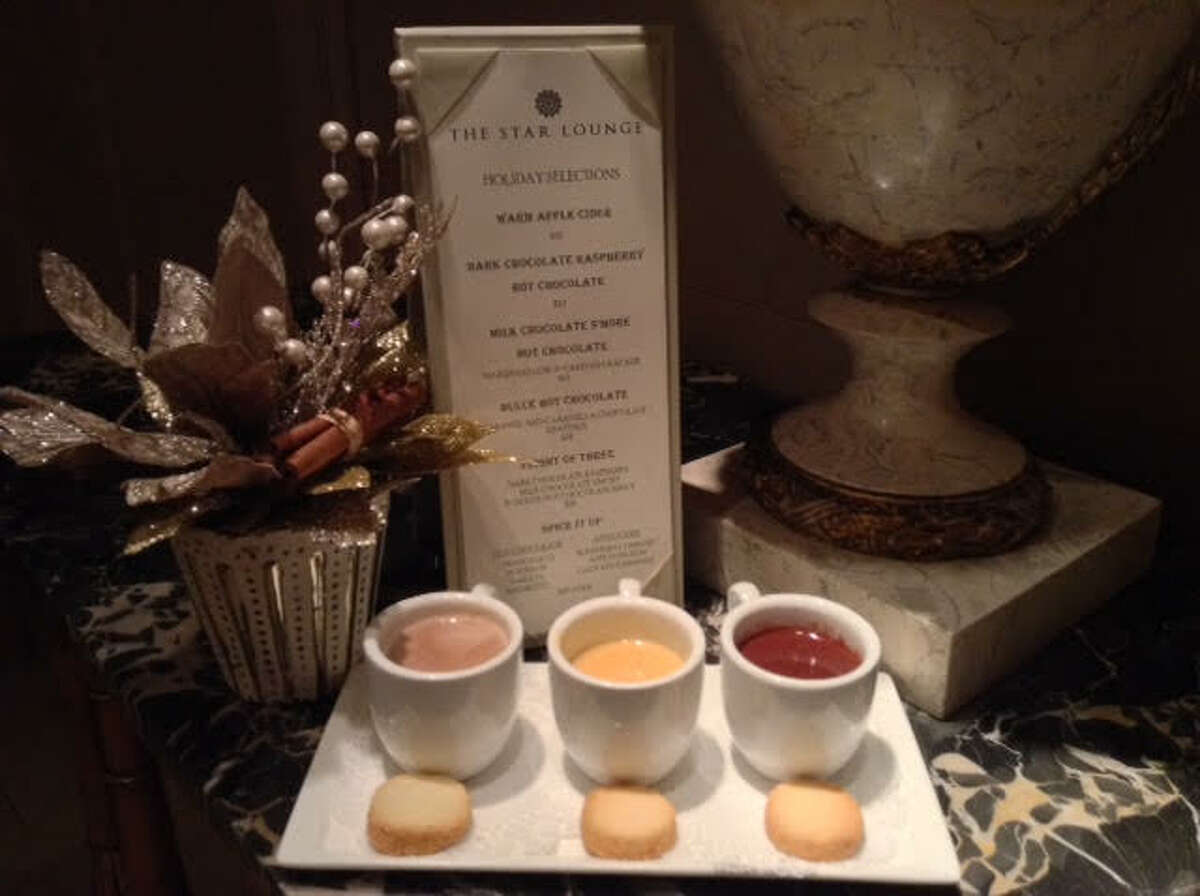 The Ritz Carlton serves thick, creamy gourmet hot chocolate with homemade butter cookies. The three flavors include dark chocolate raspberry, dulce leche and milk chocolate s'mores.