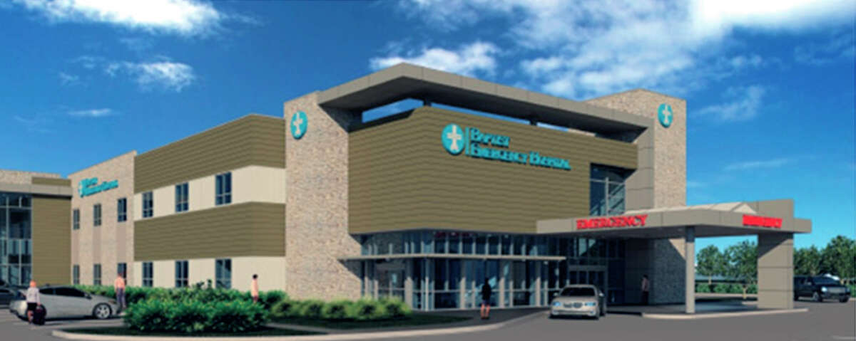 A rendering shows what the sixth Baptist Emergency Hospital to be established in the San Antonio area will look like. The facility, a joint venture between Baptist Health System and Emerus, will be at the corner of I-35 South and South Zarzamora Street. Construction has begun, and the building is scheduled to open next December.