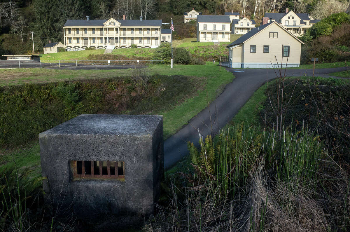 The exhaust vent for an underground battery-turned Civil Defense site rises out of a hill on the westside of Fort Columbia. Built in 1896, the fort served as military base until 1947 and was given to Washington state parks in 1950. At the height of its use, the fort operated like a small town and featured a hospital, firehouse, theater and a jail. Along with the soldiers, there were also bakers, barbers, gardeners and musicians stationed at the fort near the mouth of the Columbia River. During the two world wars, the population of the fort exceeded that of the neighboring towns of Chinook, McGowen, Megler and Knappton.
