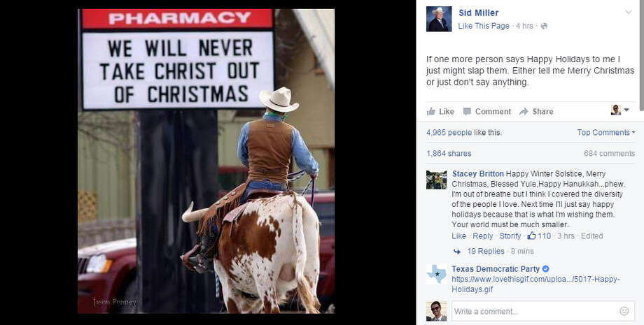 Texas Agriculture Commissioner Sid Miller posted on Facebook that he is ready to slap the next person who wishes him Happy Holidays.Take a look back at other Christmas controversies through the years.