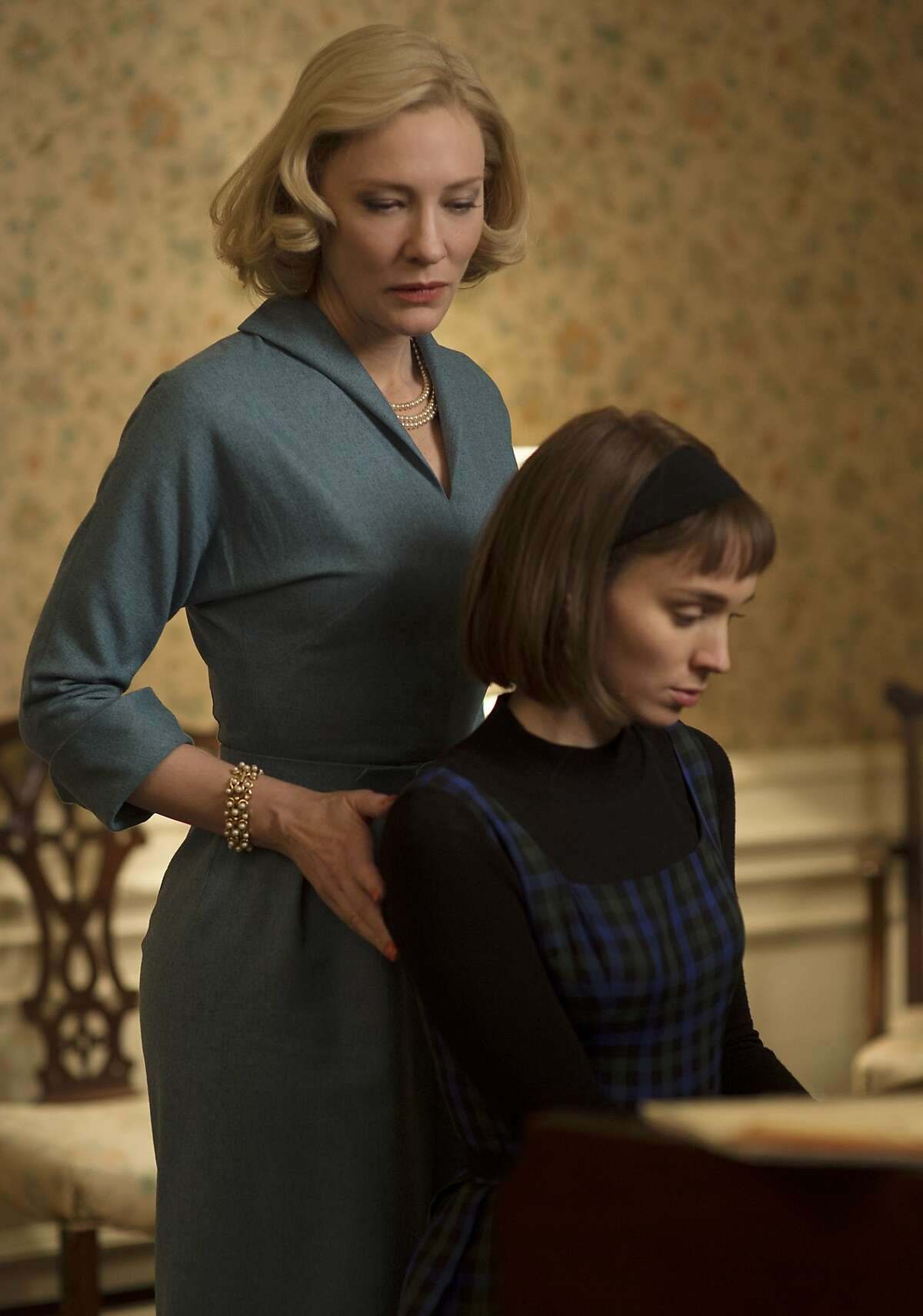 """This photo provided by The Weinstein Company shows Cate Blanchett, left, and Rooney Mara in a scene from the film, """"Carol."""""""