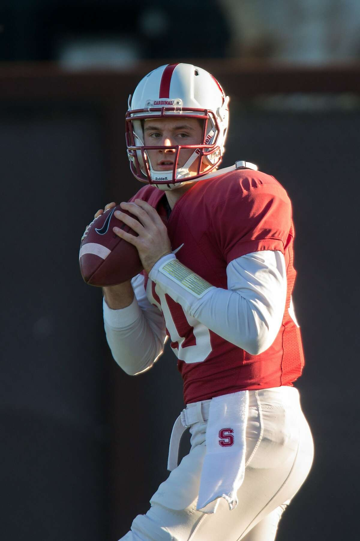 Stanford backup quarterback Keller Chryst, #10, is seen at practice on Tuesday, Dec. 15, 2015 in Stanford.