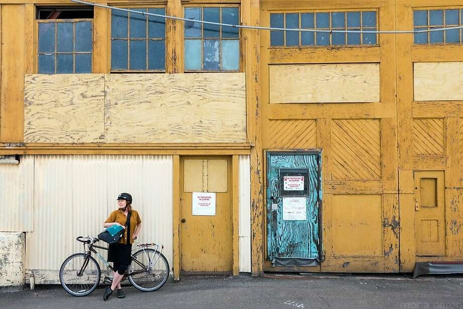 Mary Brown, a preservation planner for the city of San Francisco who died in December of 2015 at the age of 46, on a bicycle expedition to Mare Island a few years earlier. Photo: Mona Caron
