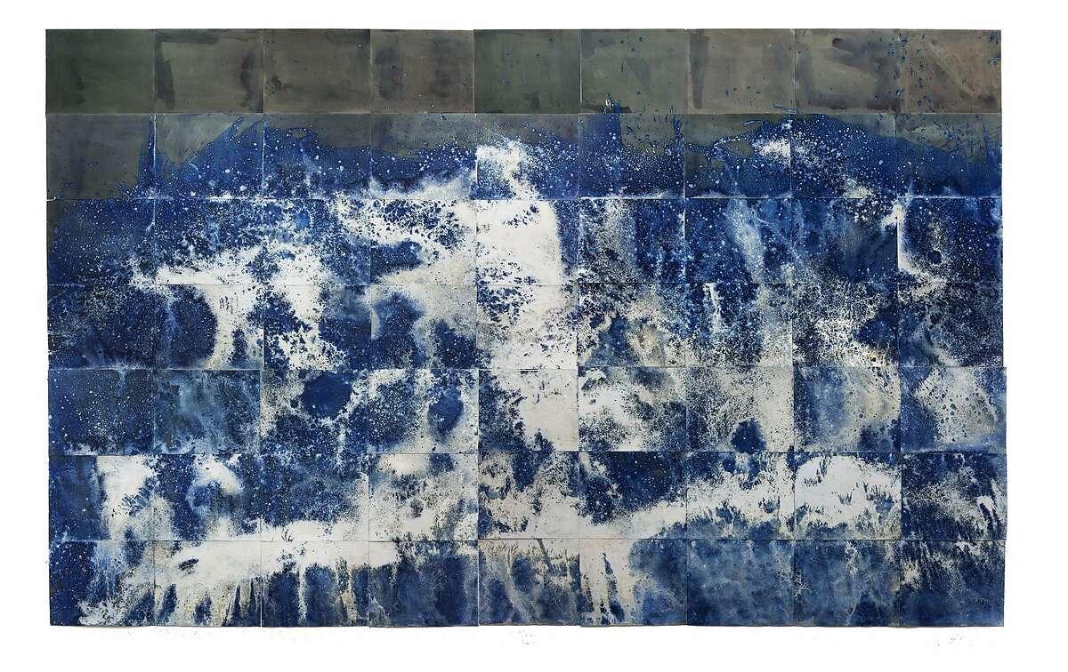 "Meghann Riepenhoff, from ""Littoral Drift."" Cyanotype sheets combined into an image 18 feet wide."