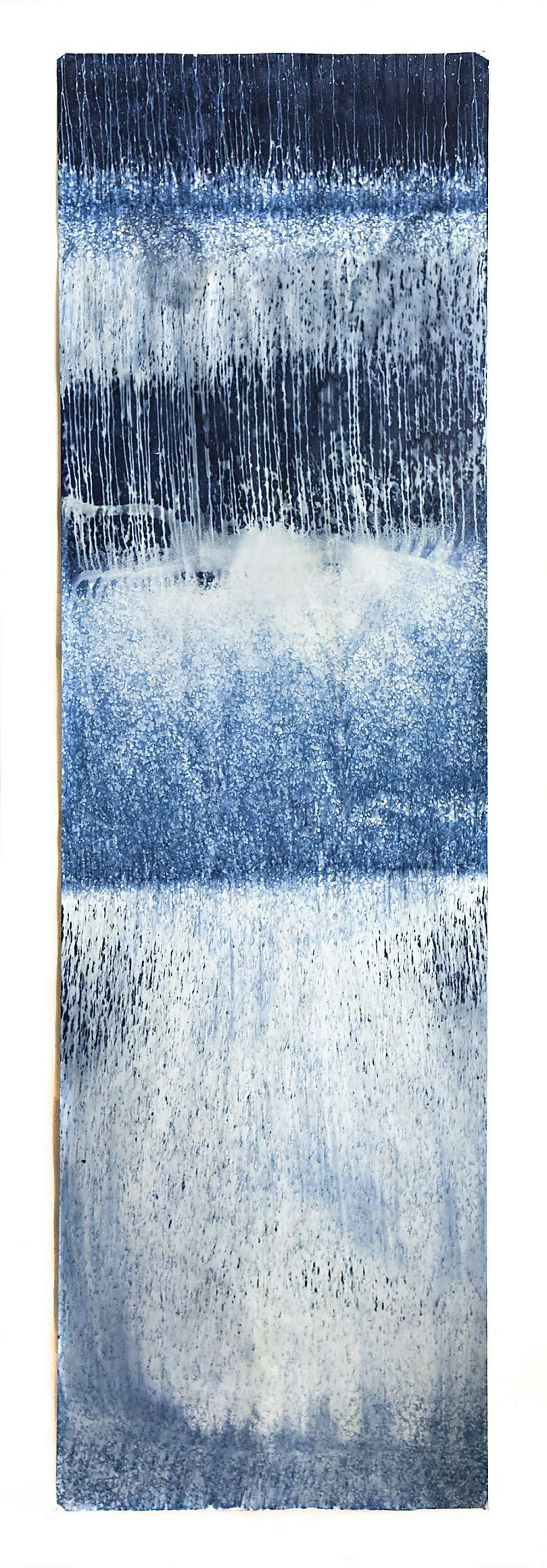 """Meghann Riepenhoff, from """"Littoral Drift."""" A cyanotype 12 feet in height by 42 inches wide."""