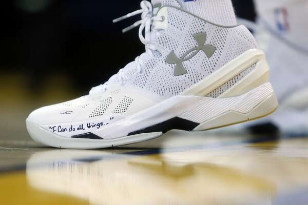 1of9Golden State Warriors  Stephen Curry s shoes during pregame warmup  before Warriors play Phoenix Suns in NBA game at Oracle Arena in Oakland 0a706991b