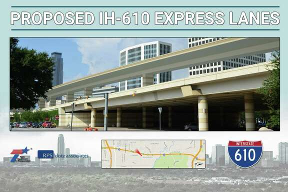 Frontage roads, like the northbound lanes shown here near San Felipe, would operate the same if elevated express lanes were added to Loop 610. There is no local access in the Uptown area to the elevated lanes.