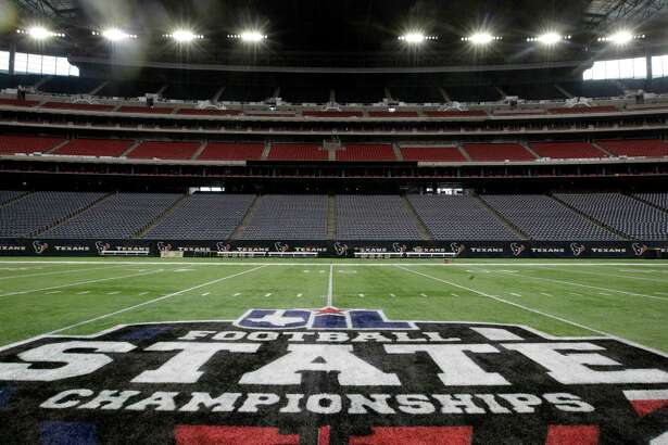 While the Texans are up in Indianapolis this weekend, NRG Stadium has taken on a new look with a UIL football state championships logo on the field in anticipation of 10 high school title games over the next three days.