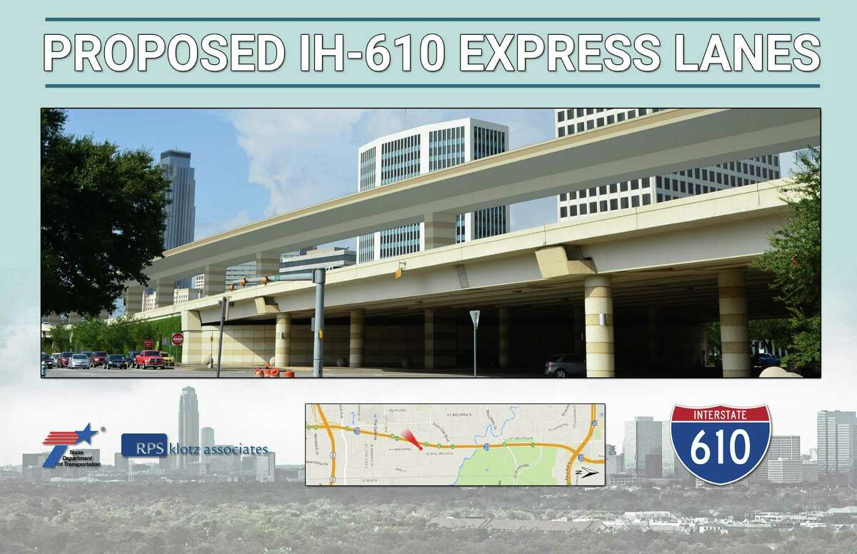 Frontage roads to Loop 610, like the northbound lanes shown here near San Felipe, will operate the same. There is no local access in the Uptown area to the elevated express lanes.
