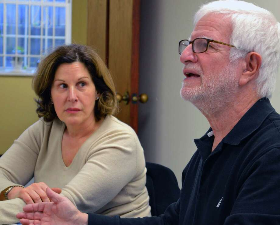 Bob Weingarten, chairman of the Saugatuck River Bridge Study Subcommittee, talks at Wednesday's work session. At left is subcommittee member Janet Rubel. Photo: Jarret Liotta / For Hearst Connecticut Media / Westport News