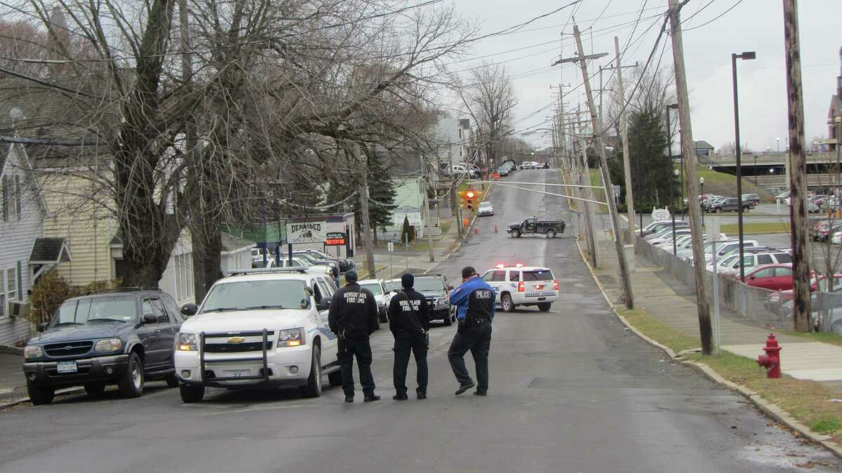 Police closed East Street near the train station in Rensselaer on Thursday as they dealt with a man inside one of the nearby homes. (Bob Gardinier / Times Union)