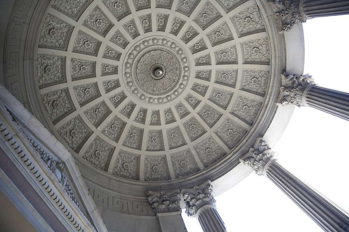 A view of the underside of the Hibernia bank dome and pillars in San Francisco, California, on Wednesday, December 16, 2015. The Hibernia bank building is about to finish restoration with seismic upgrades and cosmetic repairs.