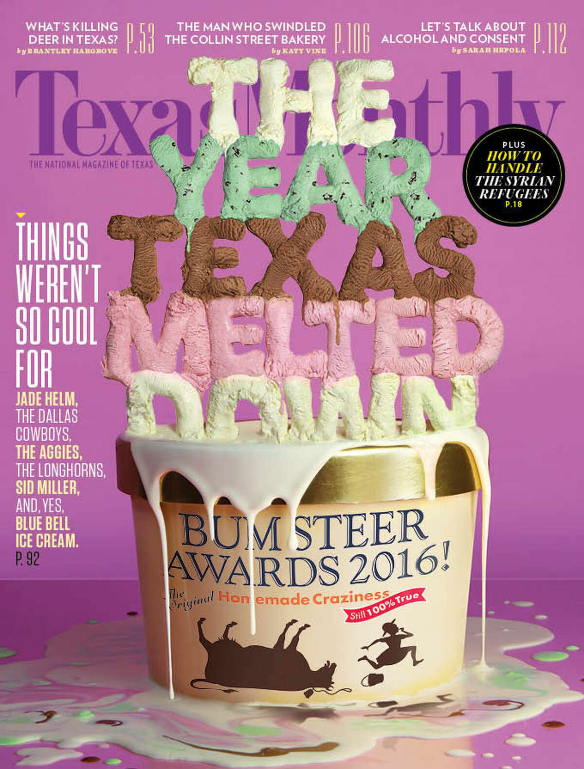 """Blue Bell's listeria outbreak earned the company this year's Texas Monthly Bum Steer Award. Click to see past Bum Steer """"winners."""""""