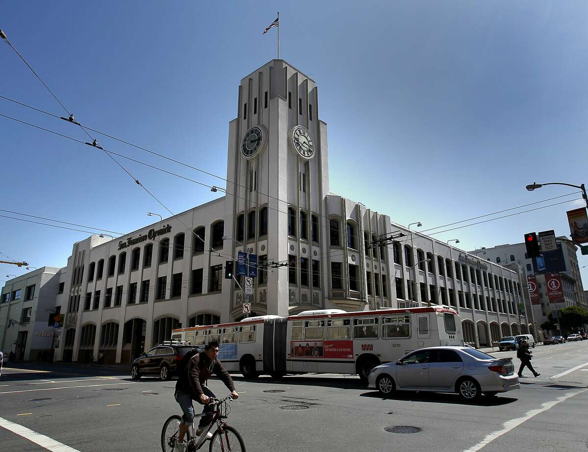 The Chronicle building at Fifth and Mission streets in San Francisco.