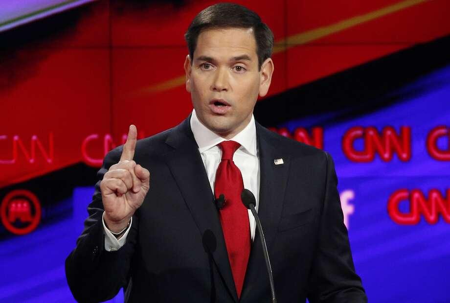 In this Dec. 15, 2015, photo, Marco Rubio makes a point during the CNN Republican presidential debate. Photo: John Locher, Associated Press