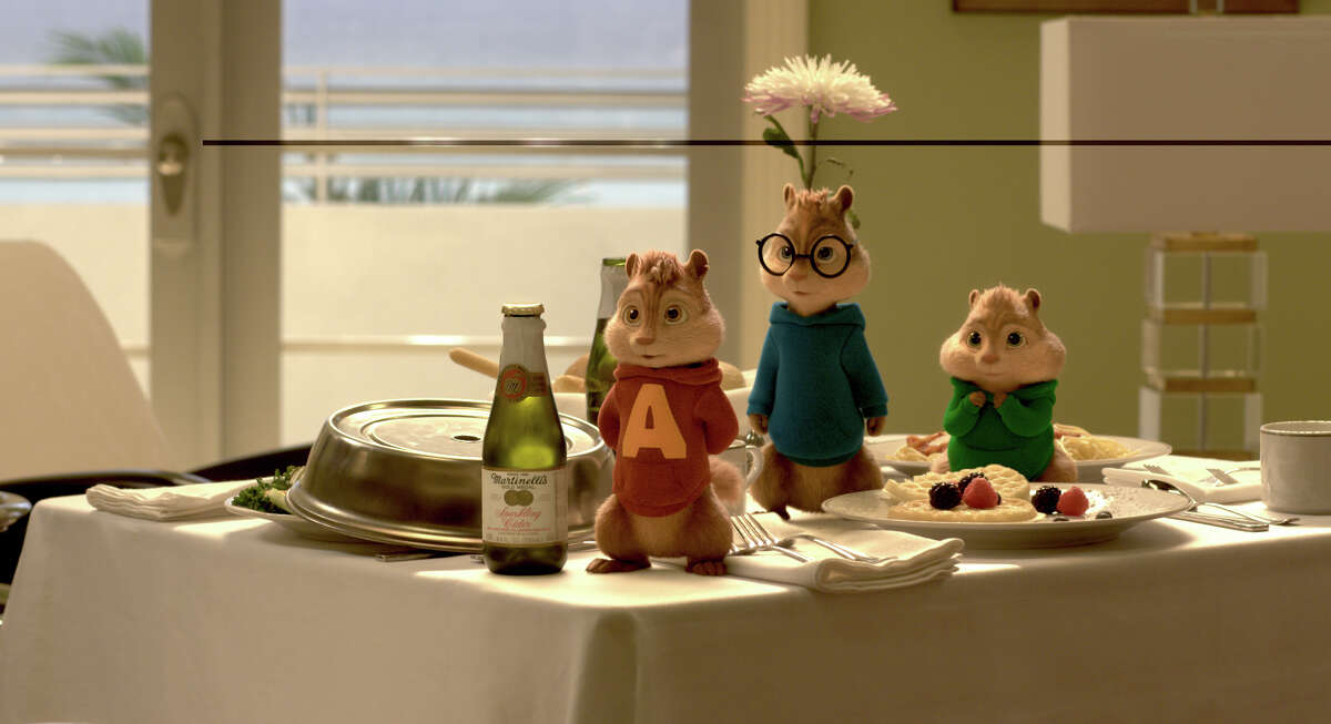 Chipmunks (from left) Alvin, Simon and Theodore enjoy room service in