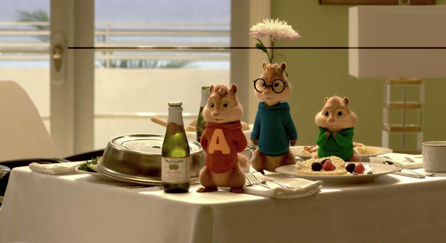 "Chipmunks (from left) Alvin, Simon and Theodore enjoy room service in ""Alvin and the Chipmunks: The Road Chip."" MUST CREDIT:  Twentieth Century Fox / Alvin and The Chipmunks, The Chipettes and Characters TM & © 201"