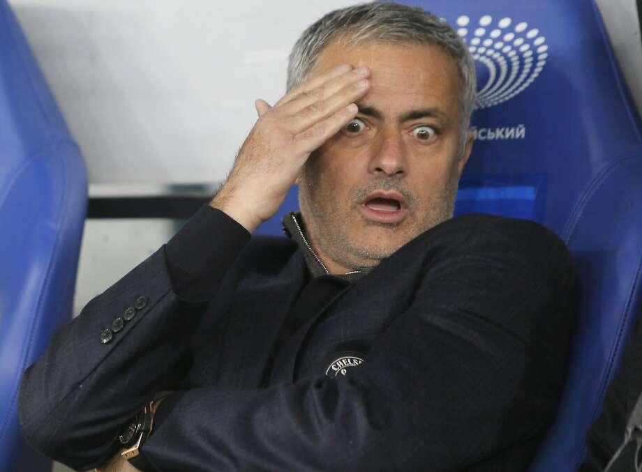 Jose Mourinho led Chelsea to a title last season, but the worst-ever start for a champion this season. Photo: Sergei Chuzavkov, Associated Press