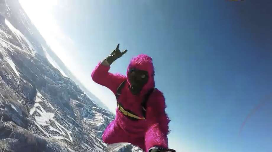 Jesse Hall skydives wearing a pink monkey suit in one of GoPro's best videos from 2015. (GoPro/YouTube)