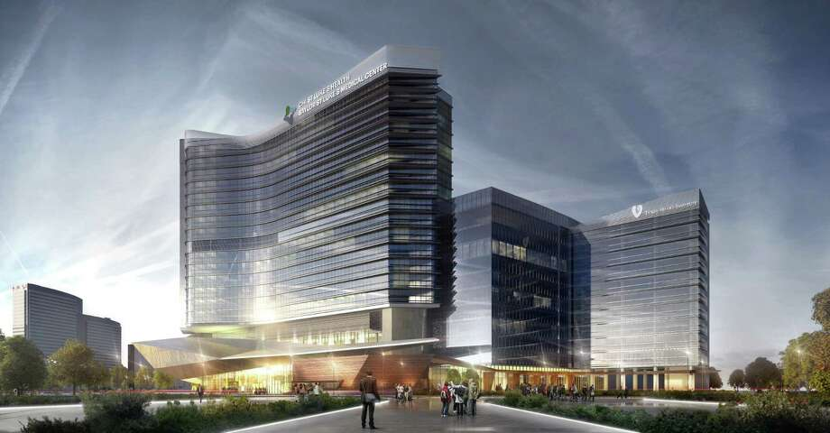 A rendering of the two-building medical campus for CHI St. Luke's Health-Baylor St. Luke's Medical Center. Photo: Courtesy Of HKS