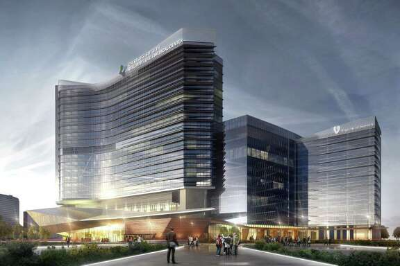 A rendering of the two-building medical campus for CHI St. Luke's Health-Baylor St. Luke's Medical Center.