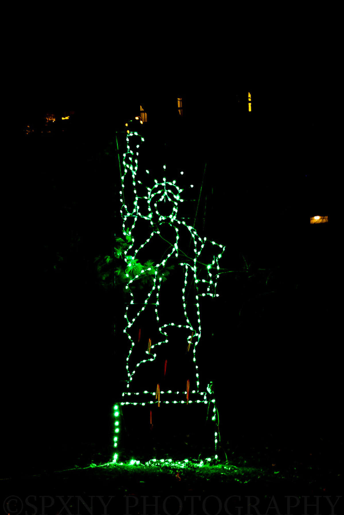 The Statue of Liberty is among the displays at Lights in the Park, Washington Park, Albany. (Scott Brenner)