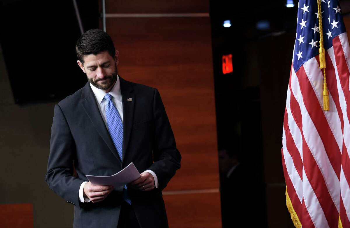 House Speaker Paul Ryan of Wis. arrives for an end-of-the-year news conference on Capitol Hill in Washington, Thursday, Dec. 17, 2015, as the Congress moves toward passage of a $1.1 trillion omnibus spending bill. (AP Photo/Susan Walsh) ORG XMIT: DCSW116