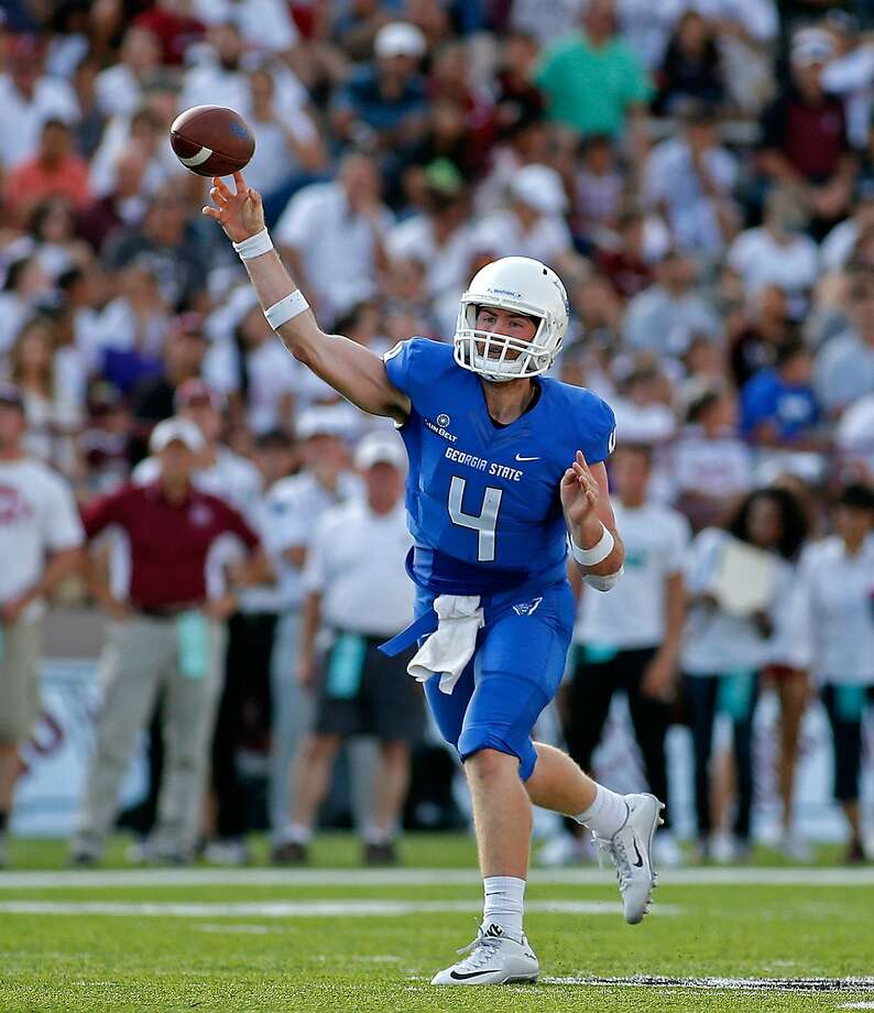 FILE - In this Sept. 12, 2015, file photo, Georgia State quarterback Nick Arbuckle throws during the first half of an NCAA college football game against New Mexico State in Las Cruces, N.M. Arbuckle surely had family and friends who wondered if he was thinking straight when he decided to play quarterback on the other side of the country, for a team coming off a winless season. Now, he'll be closing his career in Georgia State's first bowl game. (AP Photo/Andres Leighton, File) Photo: Andres Leighton, Associated Press