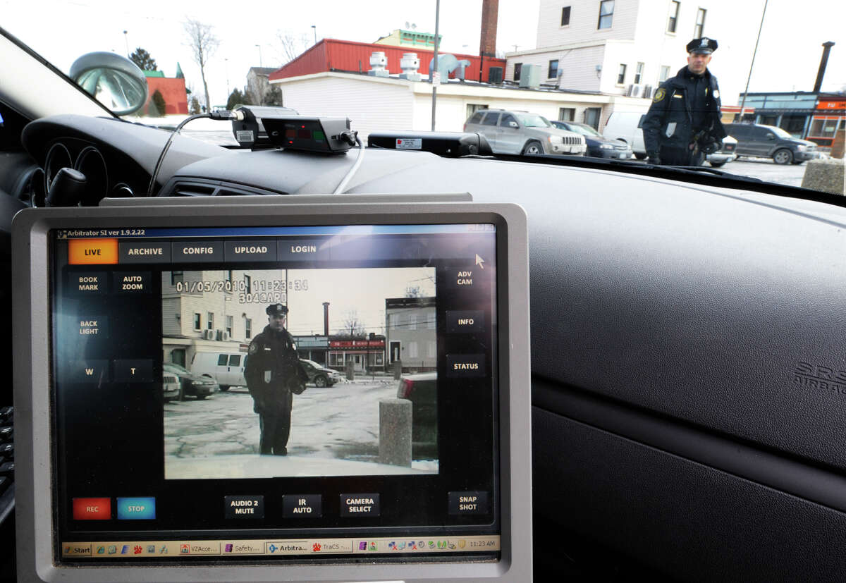 Albany Police Officer William Wilson is captured on the video screen b ya police camera on-board his cruiser on Jan. 5, 2010, in Albany, N.Y. (Skip Dickstein/Times Union archive)