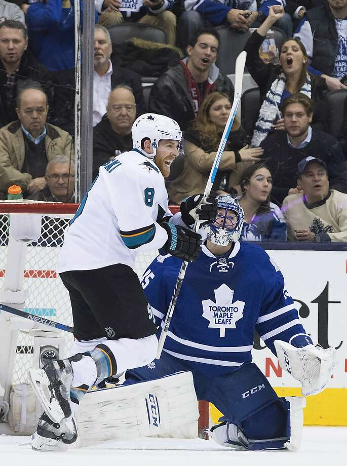 Joe Pavelski exults after one of San Jose's goals. Photo: Nathan Denette, Associated Press