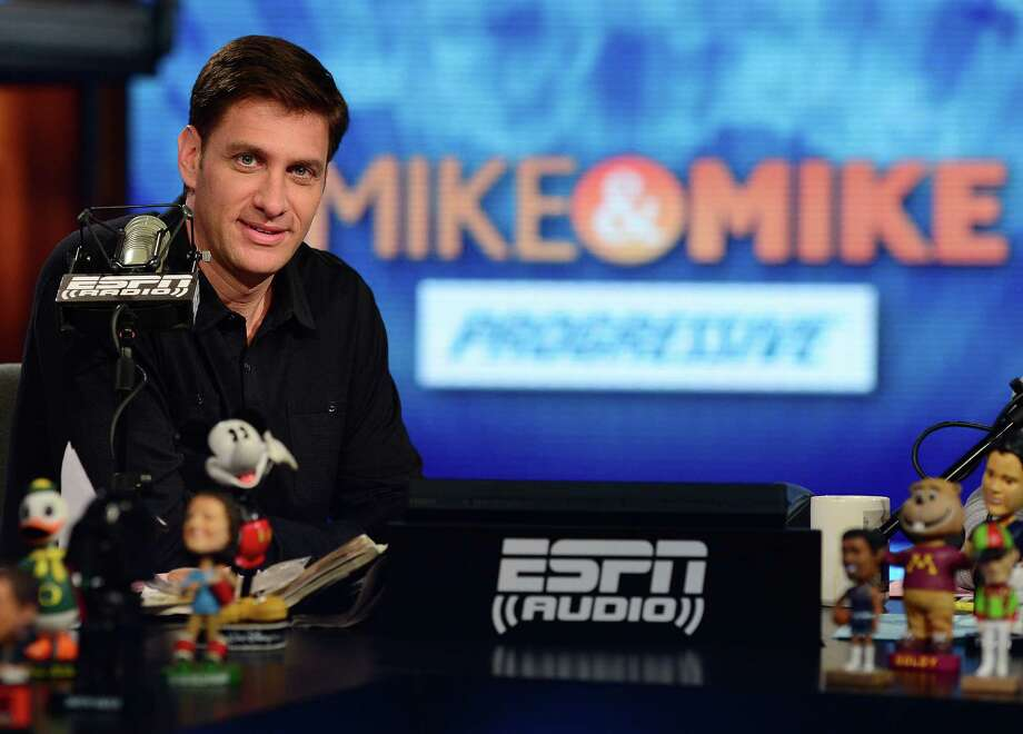 "Mike Greenberg of Westport, on the set of his ESPN radio talk show ""Mike & Mike,"" and co-host Mike Golic will be inducted into the National Association of Broadcasters' Broadcasting Hall of Fame in April. Photo: Contributed / Contributed Photo / Westport News"