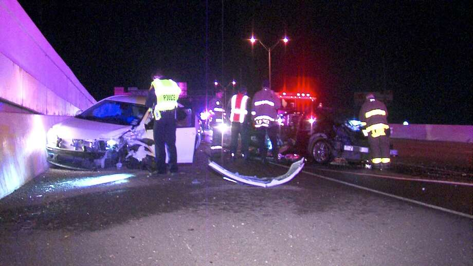 Police say speed may have been a factor in a chain-reaction crash on Loop 410 overnight. Photo: 21 Pro Video
