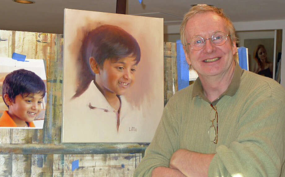 Bridgewater artist Ed Little with his portrait of Reading Star Aaron Panda from Danbury Photo: / United Way Of Western Connecticut