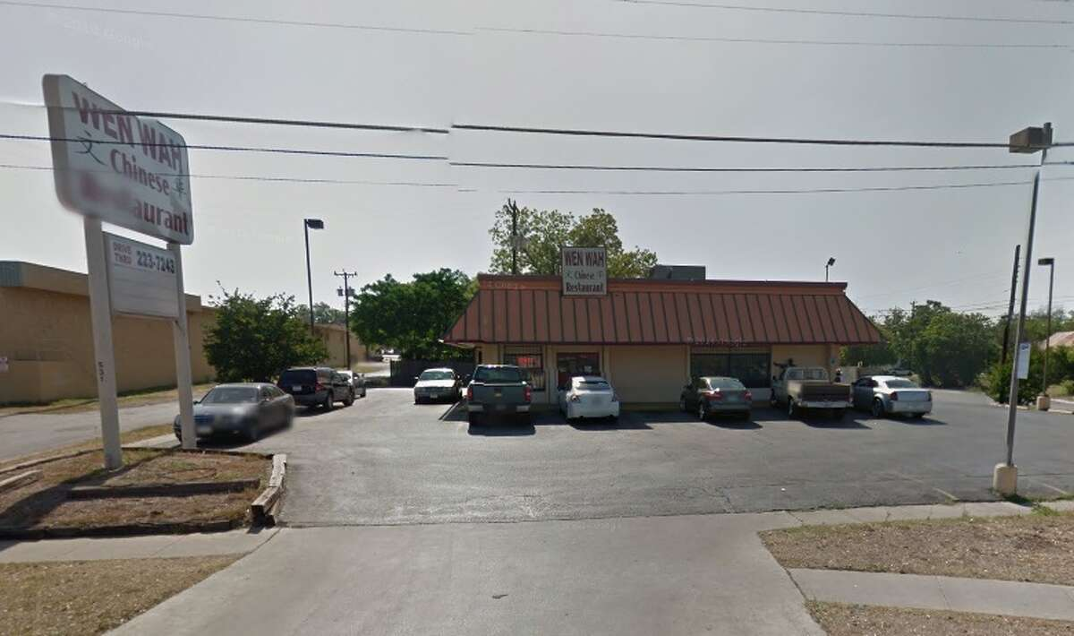 Wen Wah: 531 N. New Braunfels, San Antonio, Texas 78202 Date: 10/23/2017 Score: 67 Highlights: Rice not held at the proper temperature; rodent droppings found on canned goods and on packaged noodles; flies seen in the facility; to-go containers stored on a dirty wire rack; bug zapper stored above clean pots and pans; dead bugs seen on an overturned baking sheet; trash bag was used as a container liner for bread crumbs.