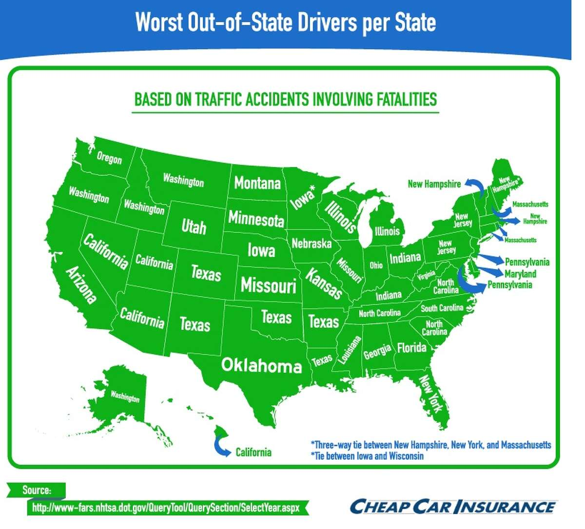 This map labels each state with the state of residence most often listed by traveling drivers involved in fatal accidents, Texas takes the top spot in each of its four neighboring states as well as in Colorado.