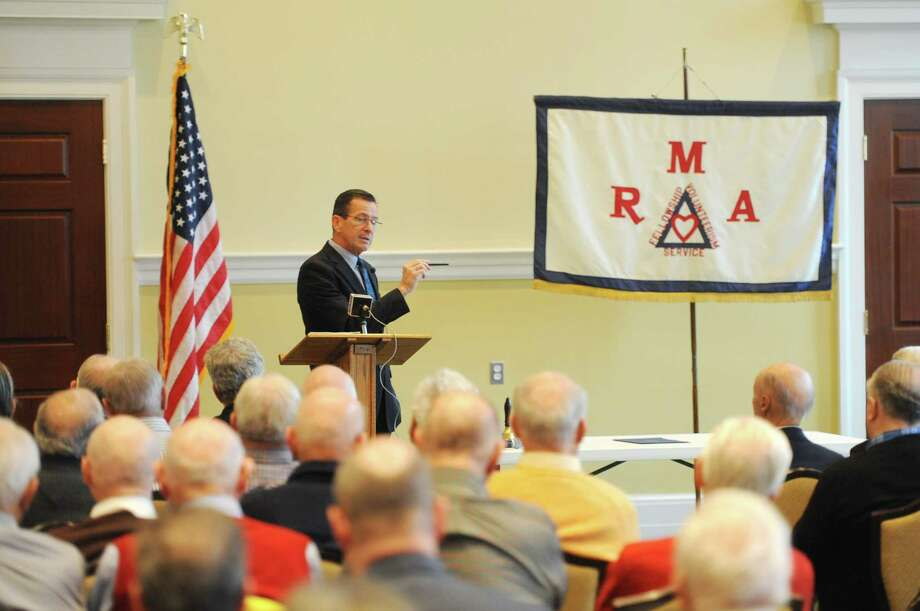 Connecticut Gov. Dannel P. Malloy speaks to members of the Retired Men's Association of Greenwich, Conn. in early December 2015. Photo: Tyler Sizemore / Hearst Connecticut Media / Greenwich Time