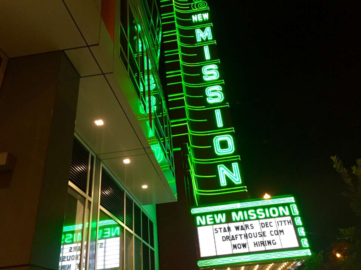 The marquee of the Alamo Drafthouse New Mission in San Francisco, Calif.