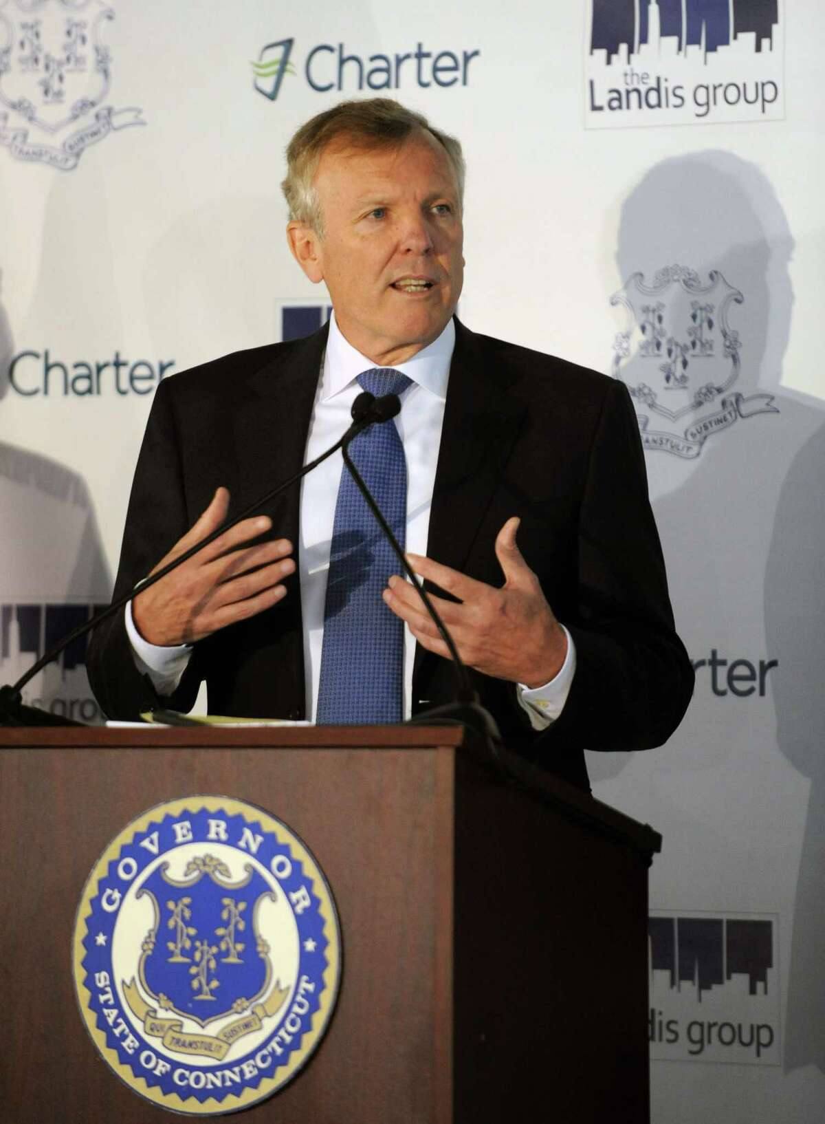 Charter Communications CEO Tom Rutledge in October 2012, after announcing his company would establish its headquarters in Stamford, Conn. On December 17, 2015, Charter announced plans to offer a first-of-its kind $14.99 broadband service for lower-income subscribers.