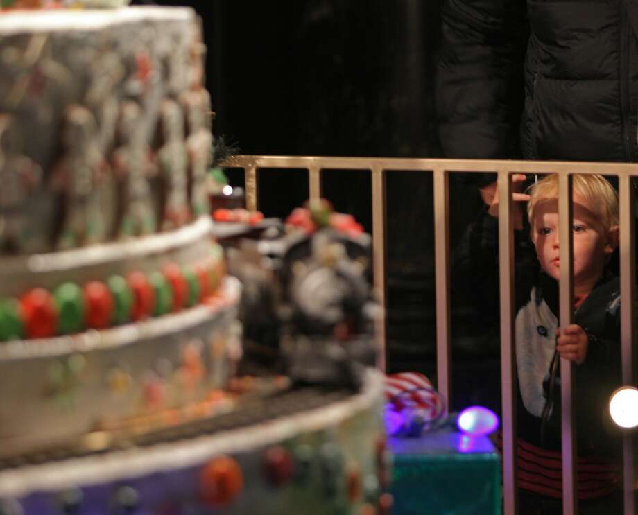 Oliver Karlsson, 2, of Brisbane, Australia admiring the St. Francis Enchanted Castle at the Westin St. Francisco in San Francisco on December 17, 2015. Photo: Franchon Smith