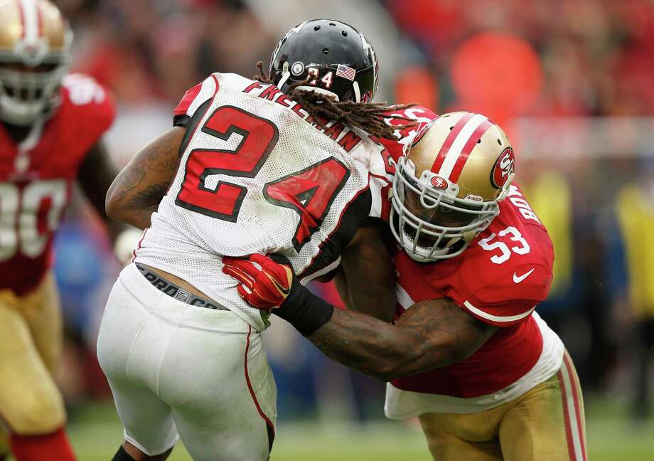 NaVorro Bowman and the 49ers limited Atlanta's Devonta Freeman, then the NFL's leading rusher, to 12 yards on 12 carries in a 17-16 win on Nov. 8 at Levi's Stadium. Photo: Ezra Shaw / Getty Images / 2015 Getty Images