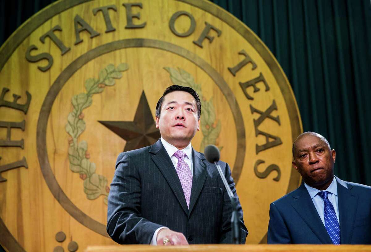 Rep. Gene Wu, D-Houston, leads a press conference about juvenile justice legislation during the final days of the 84th Texas legislature regular session on Sunday, May 31, 2015 at the Texas state capitol in Austin. At right is Rep. Sylvester Turner, D-Houston. (Ashley Landis/The Dallas Morning News)