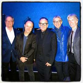 Musicians (from left) Boz Scaggs, Lars Ulrich, Elvis Costello and Phil Lesh (far right) celebrate the 70th of SF Symphony maestro Michael Tilson Thomas at the social season's first fete of 2015. Jan 2015.