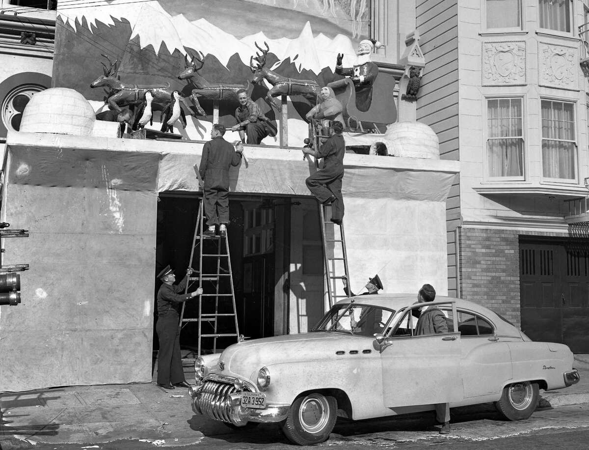 A firehouse dressed up for Christmas in 1949, in a San Francisco Fire Department competition.