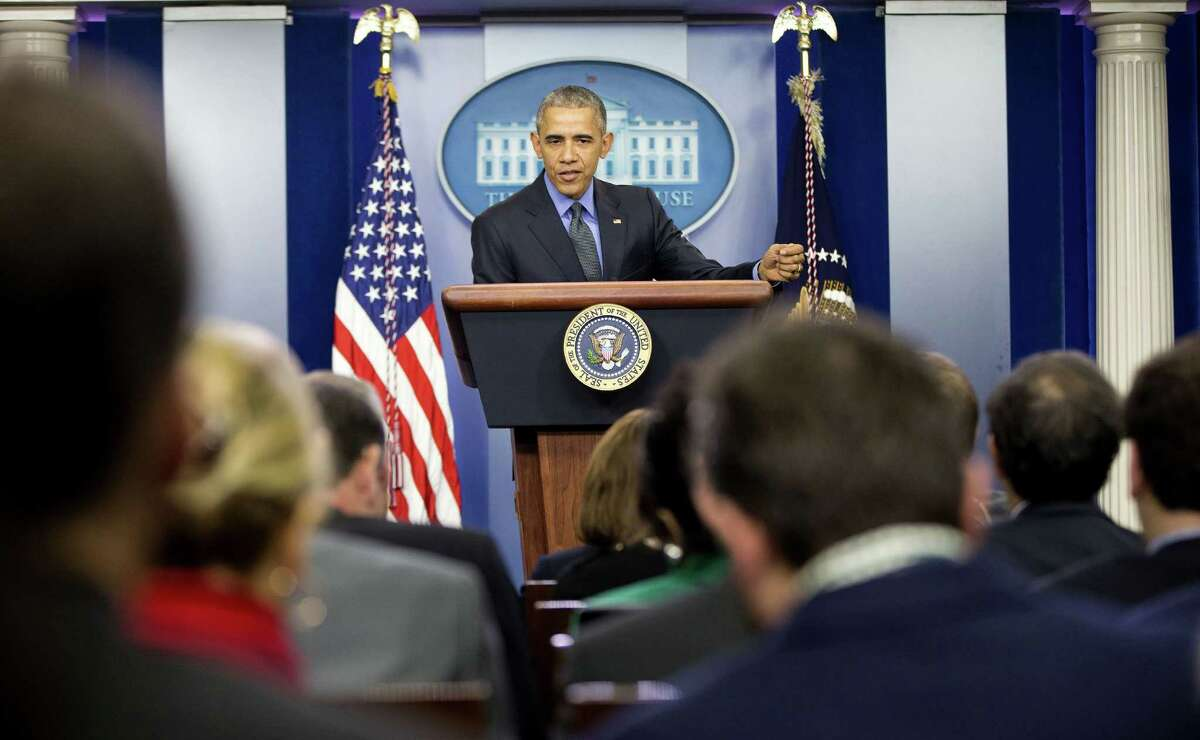 President Barack Obama speaks during a news conference in the White House Brady Press Briefing Room in Washington, Friday, Dec. 18, 2015. (AP Photo/Pablo Martinez Monsivais) ORG XMIT: DCPM109