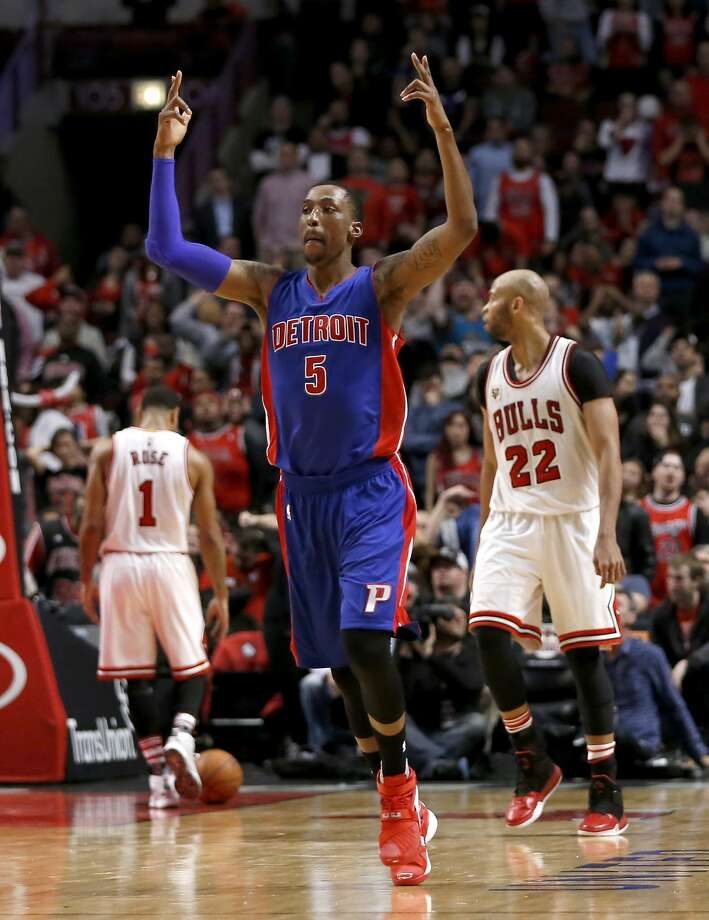 In the fourth OT, Kentavious Caldwell-Pope of the Pistons celebrates his three-pointer. Photo: Charles Rex Arbogast, Associated Press