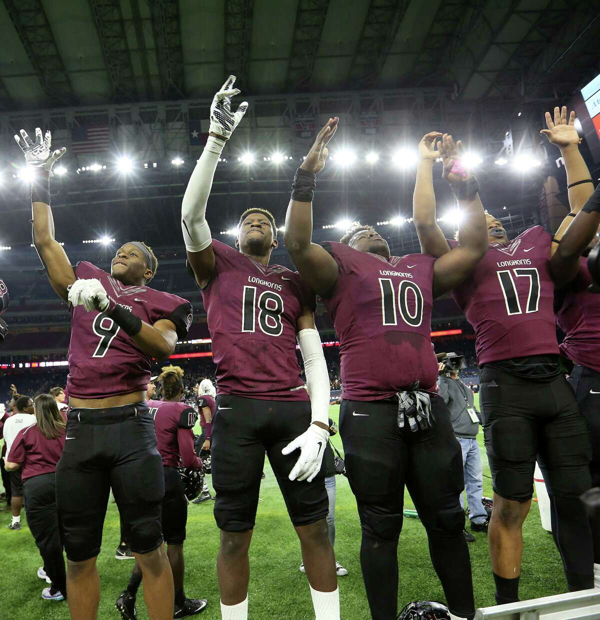 Class 5A Division I: George Ranch 56, Lake Ridge 0 Members of George Ranch's football team celebrates their 56-0 victory over Mansfield Lake Ridge on Friday, Dec. 18, 2015, in Houston. Elizabeth Conley / Houston Chronicle )