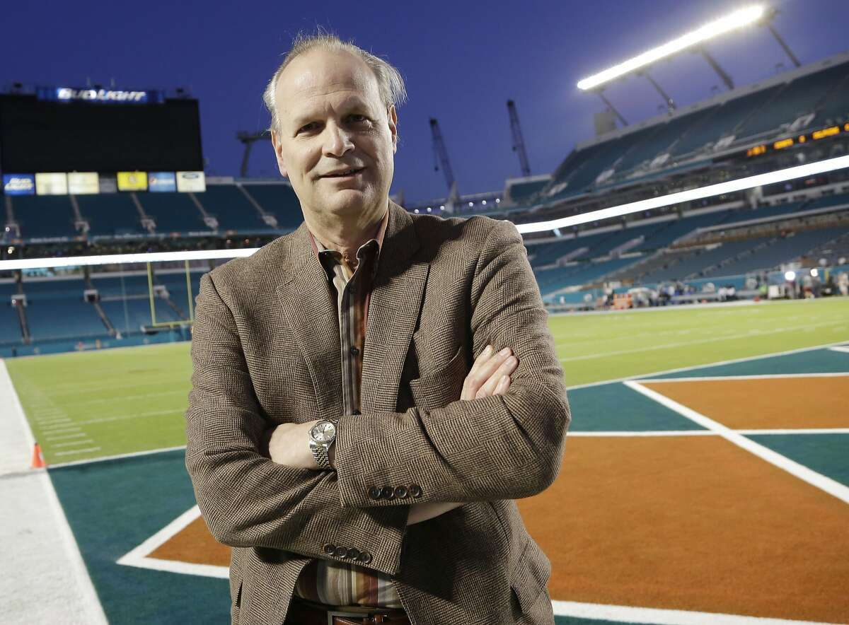 In this Dec. 14, 2015, photo, Steve Hirdt is seen at his 501st Monday night football game, between the Miami Dolphins and the New York Giants, in Miami Gardens, Fla. Hirdt is the statistical eyes and ears of the operation, a walking encyclopedia of sorts from the Elias Sports Bureau who plays an essential role in the league's signature broadcast. (AP Photo/Lynne Sladky)